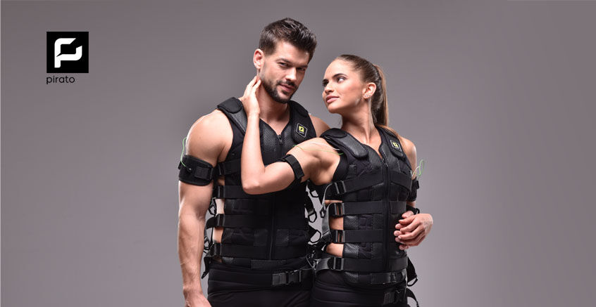 Pirato comes with durable EMS suits for studio use