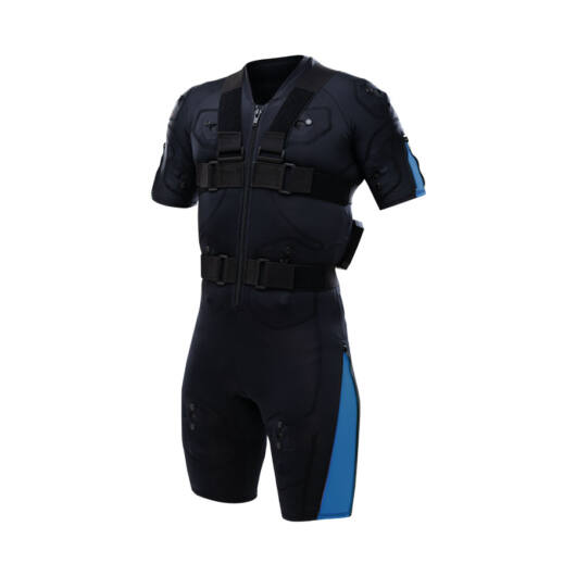 Hybrid Blue EMS training suit with cables