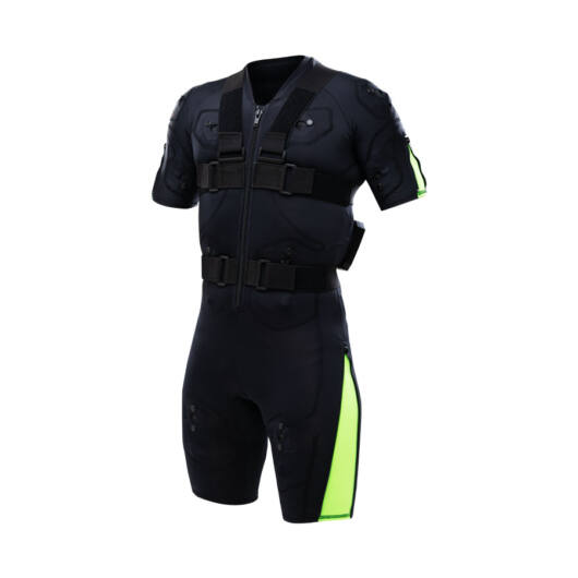 Hybrid Green EMS training suit with cables